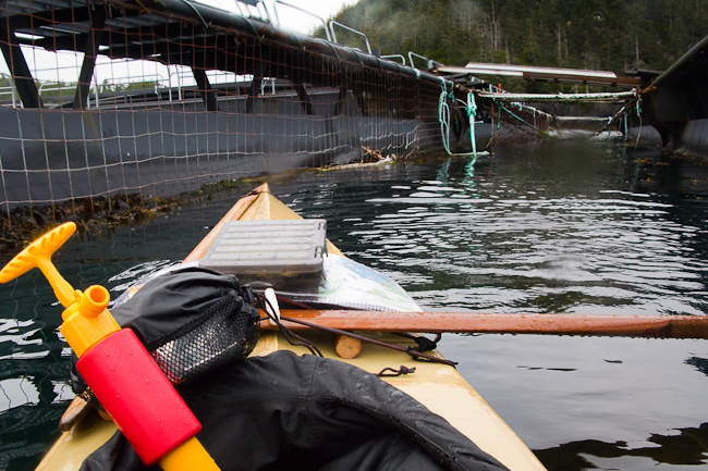 Bilge Pump, Sea Sock, Charts, Fishing Gear, under Greenland-style leather deck lines.